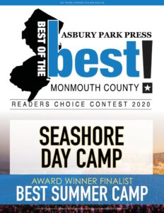 Seashore Voted Best 2020 Camp In Monmouth County by generations of satisfied customers.
